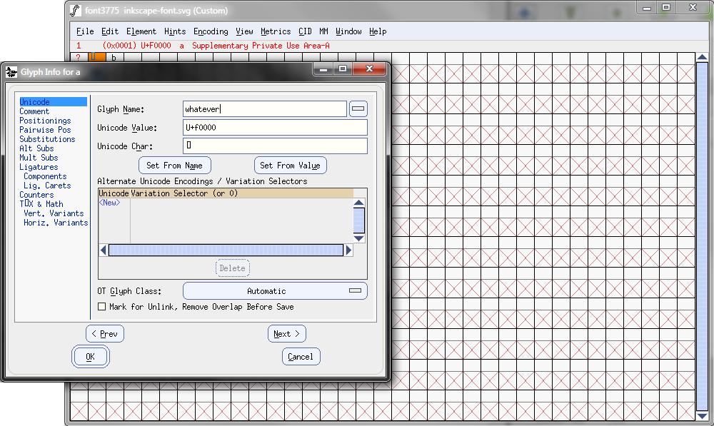 Glyph Info Window