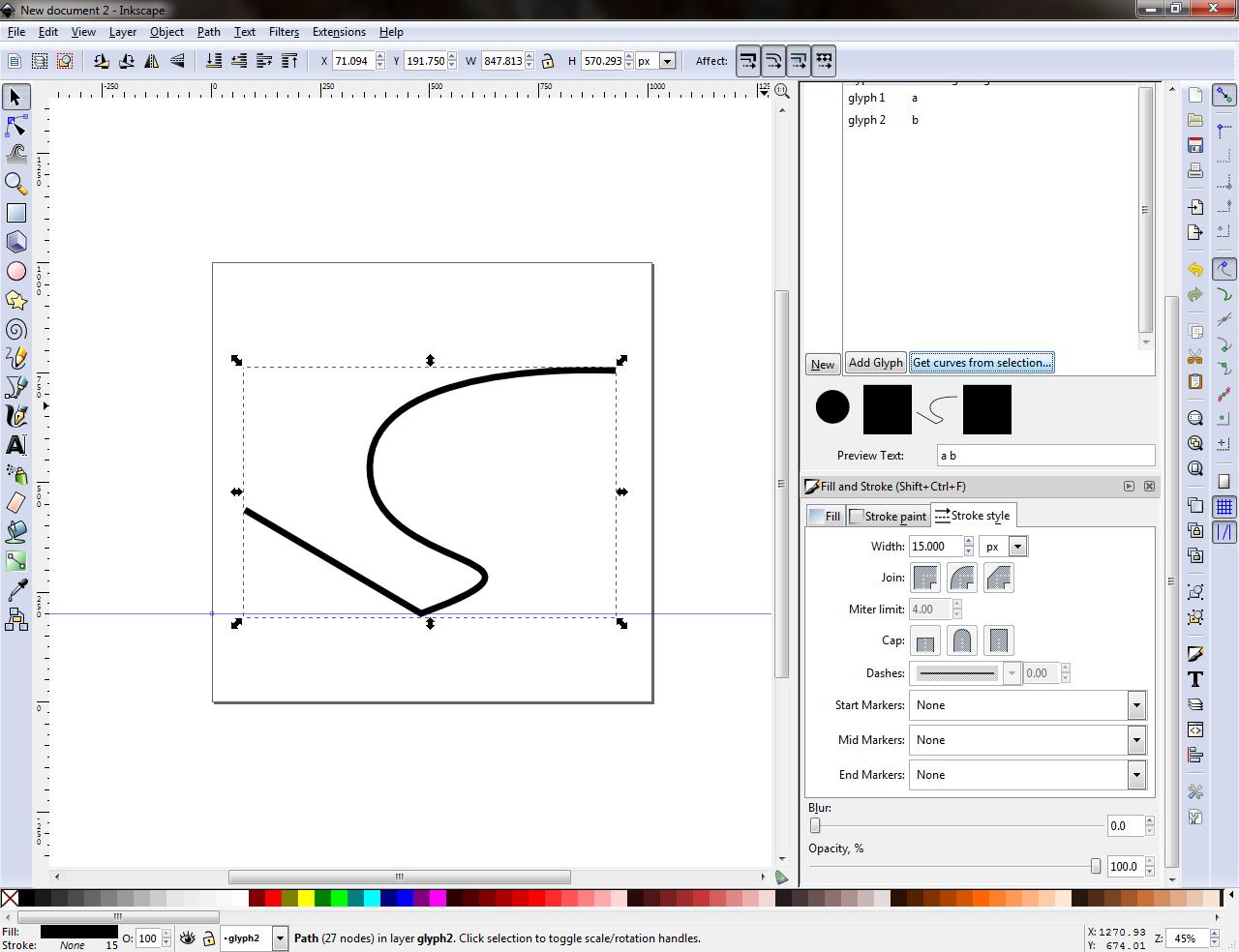Fancy, glyphified curve
