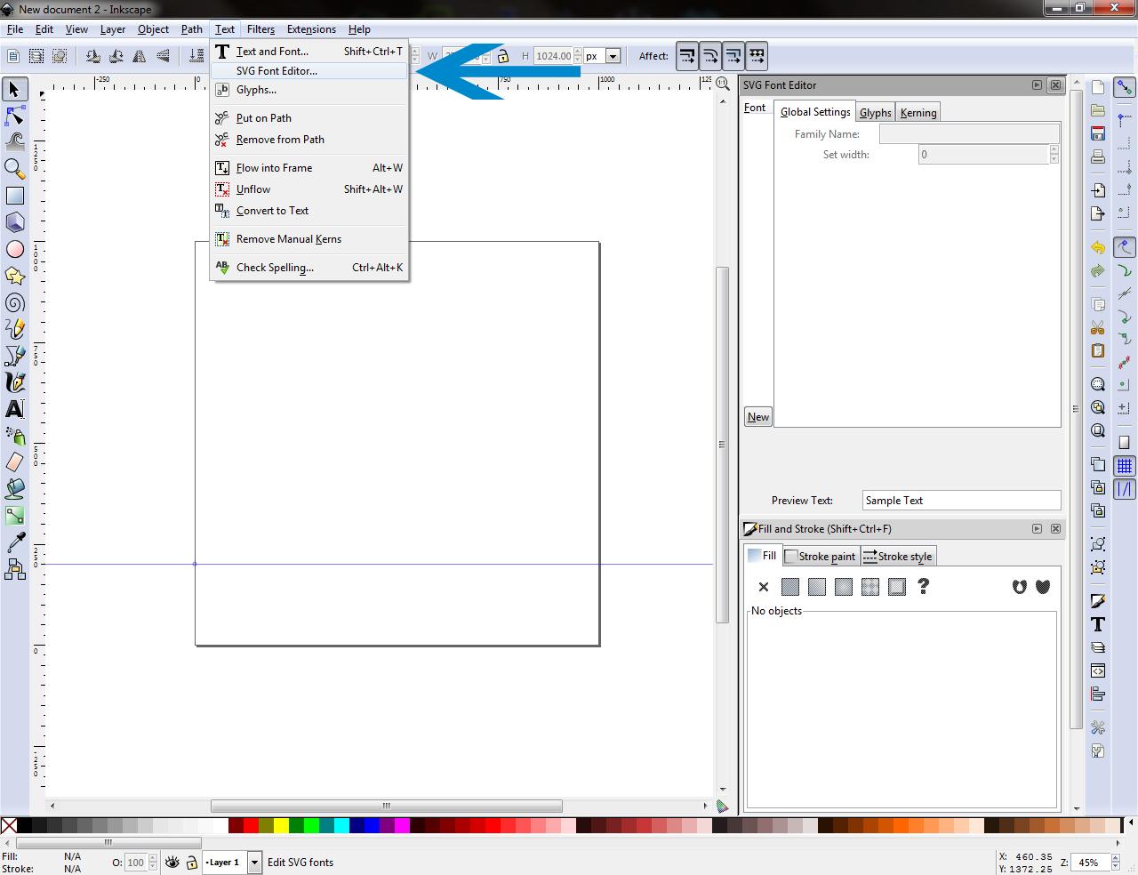 SVG Font Editor Pane