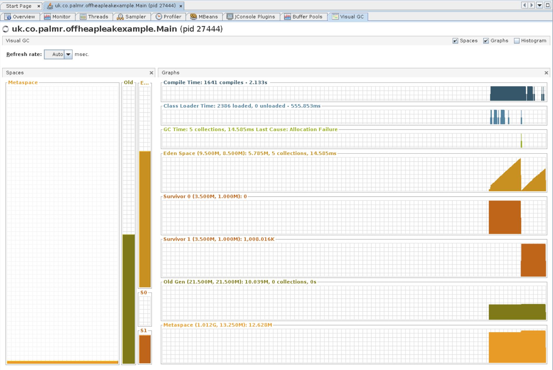 Visual GC tab in jVisualVM